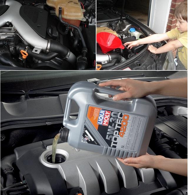 Заливка моторного масла в горловину двигателя