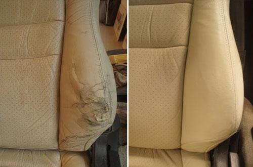 До и после чистки кожаных сидений в машине