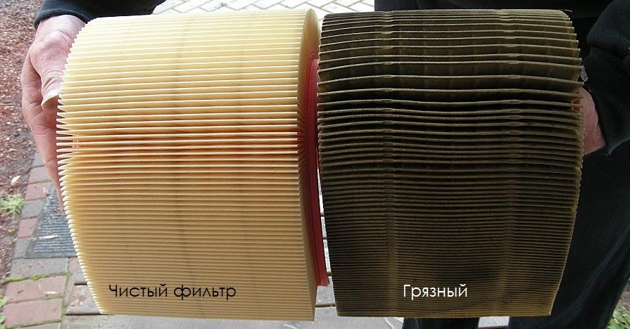 Чистый и грязный воздушные фильтра