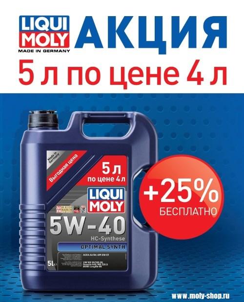 Акция Liqui Moly в Моли Шоп Оптималь +25% в подарок