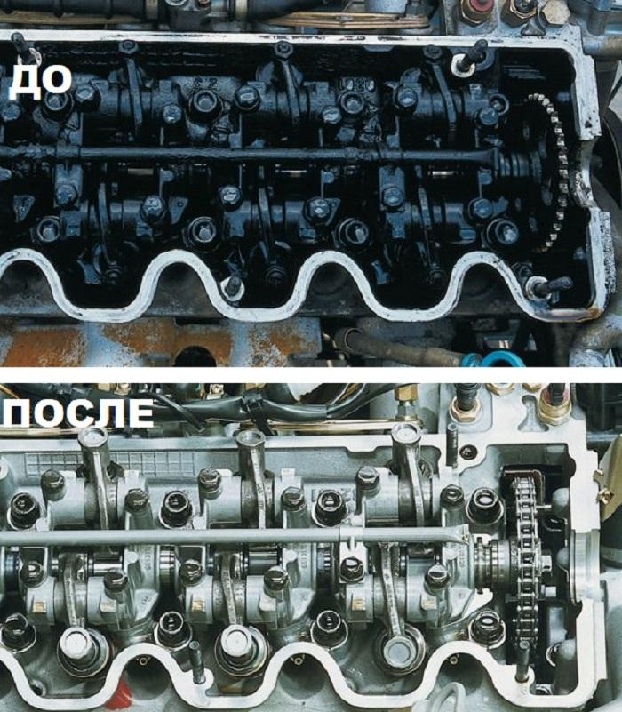 ДО и после промывки двигателя Эффект