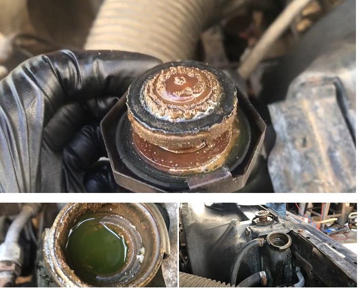Высол на крышке антифриза двигателя автомобиля