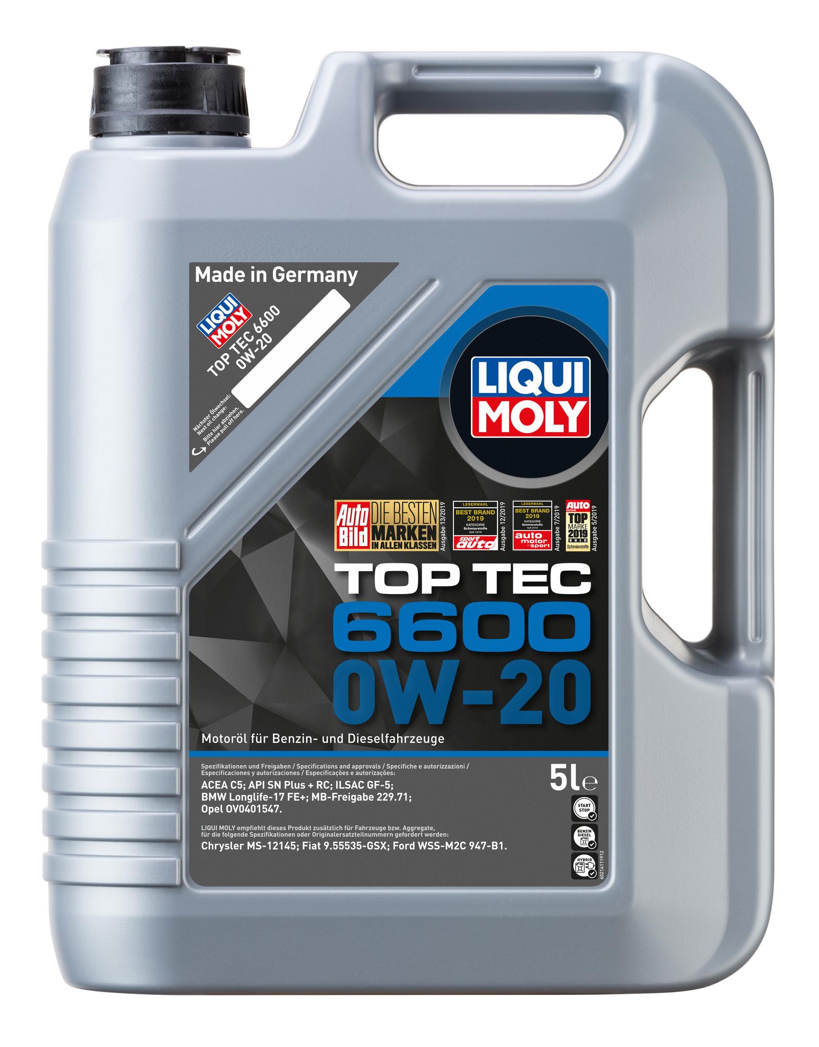 Liqui Moly Top Tec 6600 0W20 НС-синтетическое моторное масло для  BMW, Mercedes-Benz, Opel