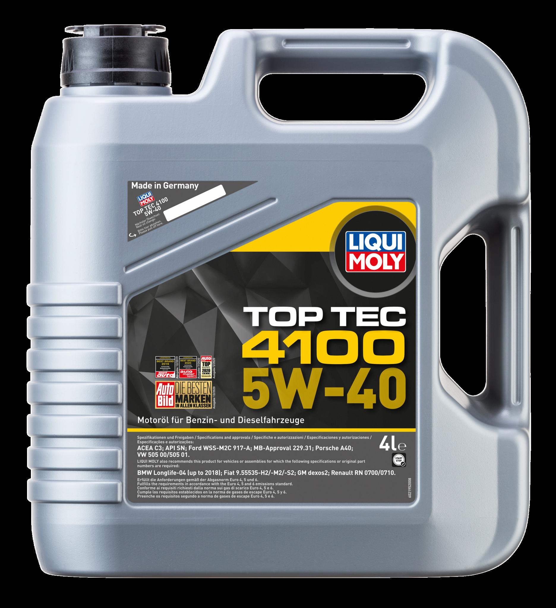 Liqui Moly Top Tec 4100 5W40 Дизельное hc-синтетическое моторное масло для MB, BMW, Porsche, Ford, VW Audi Group под EURO 4 (7547)