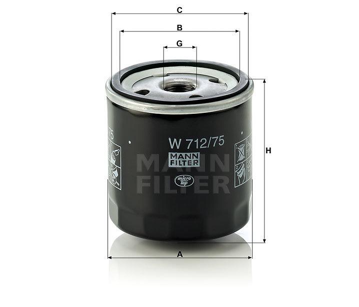 Фильтр масляный MANN W 712/75