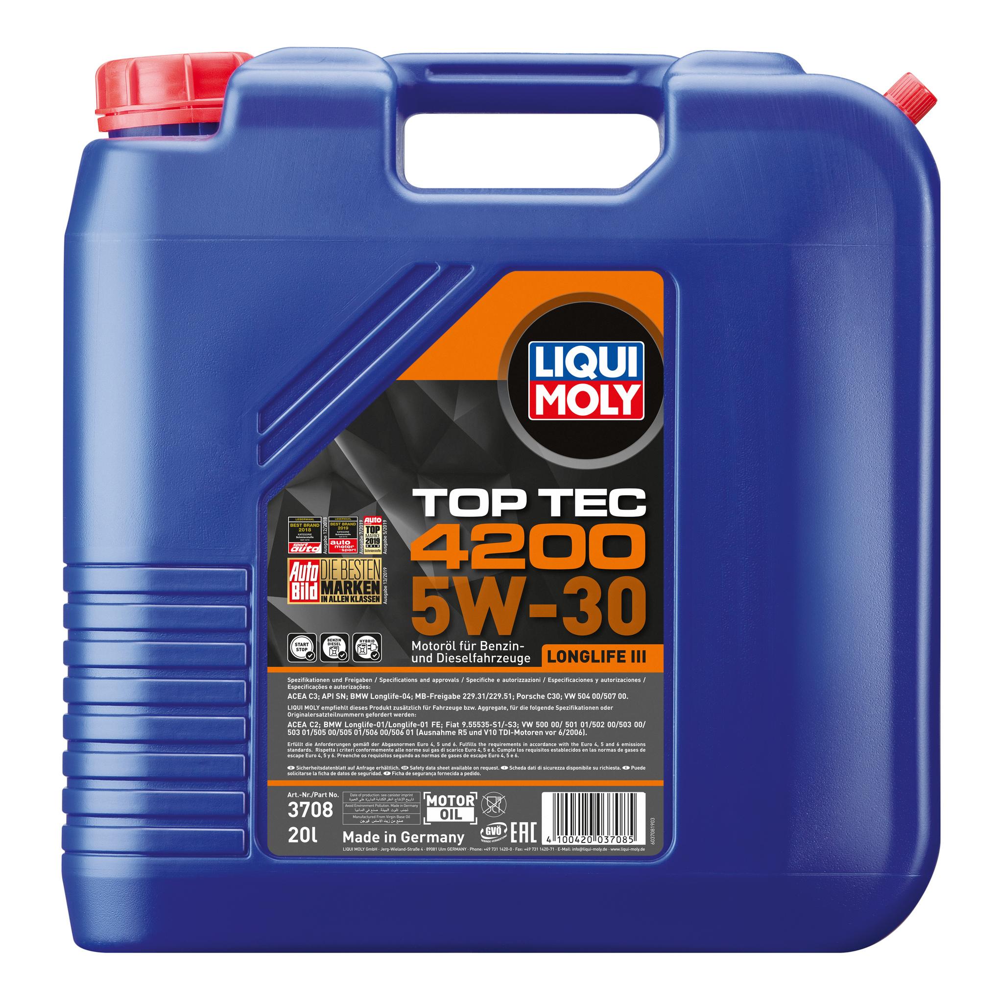 Liqui Moly Top Tec 4200 5W-30 канистра 20 л. Синтетическое масло для VW, AUDI