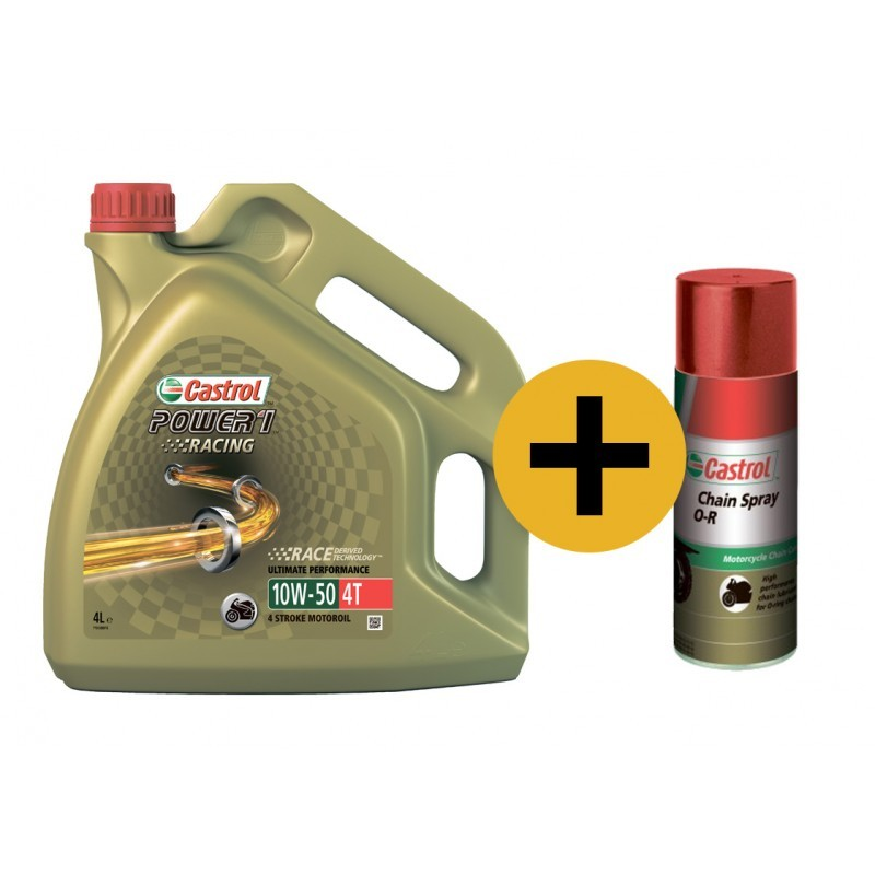 Castrol Power Racing 10w-50 4T (Промо-набор) - Синтетическое мотоциклетное масло + смазка