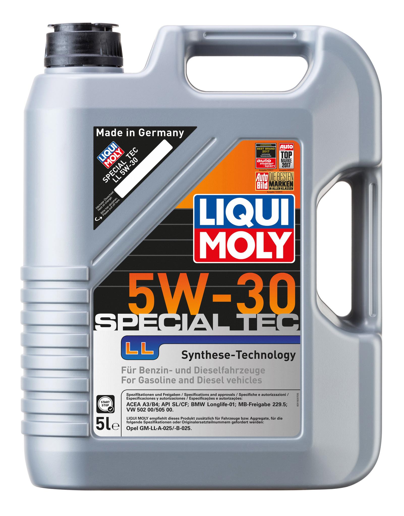 Liqui Moly Special Tec LL 5W30 НС-синтетическое моторное масло для Mercedes-Benz, BMW, VW, Opel (8055)