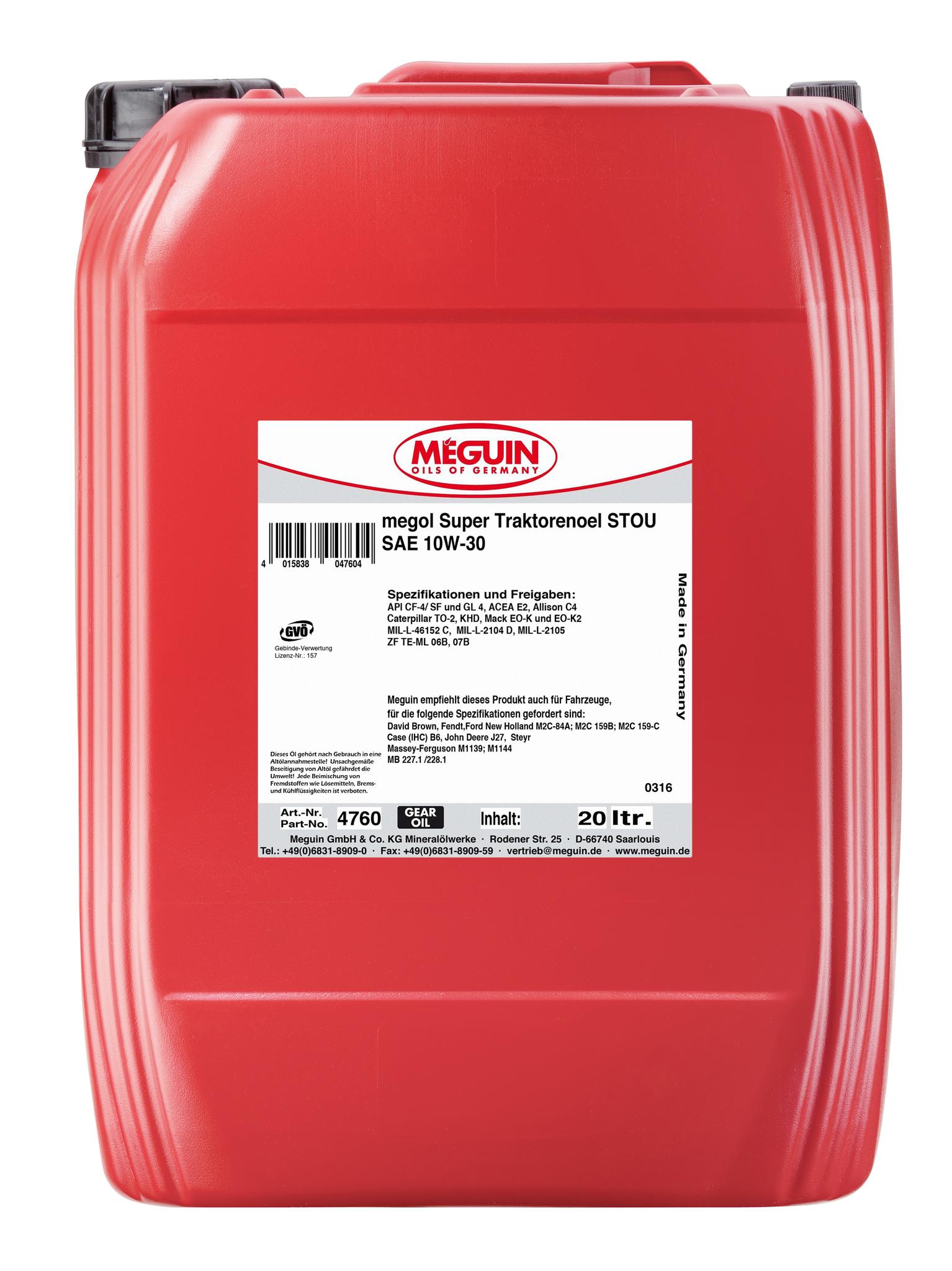 Megol Super Traktorenoel STOU 10W-30 Минеральное трансмиссионное масло для тракторов