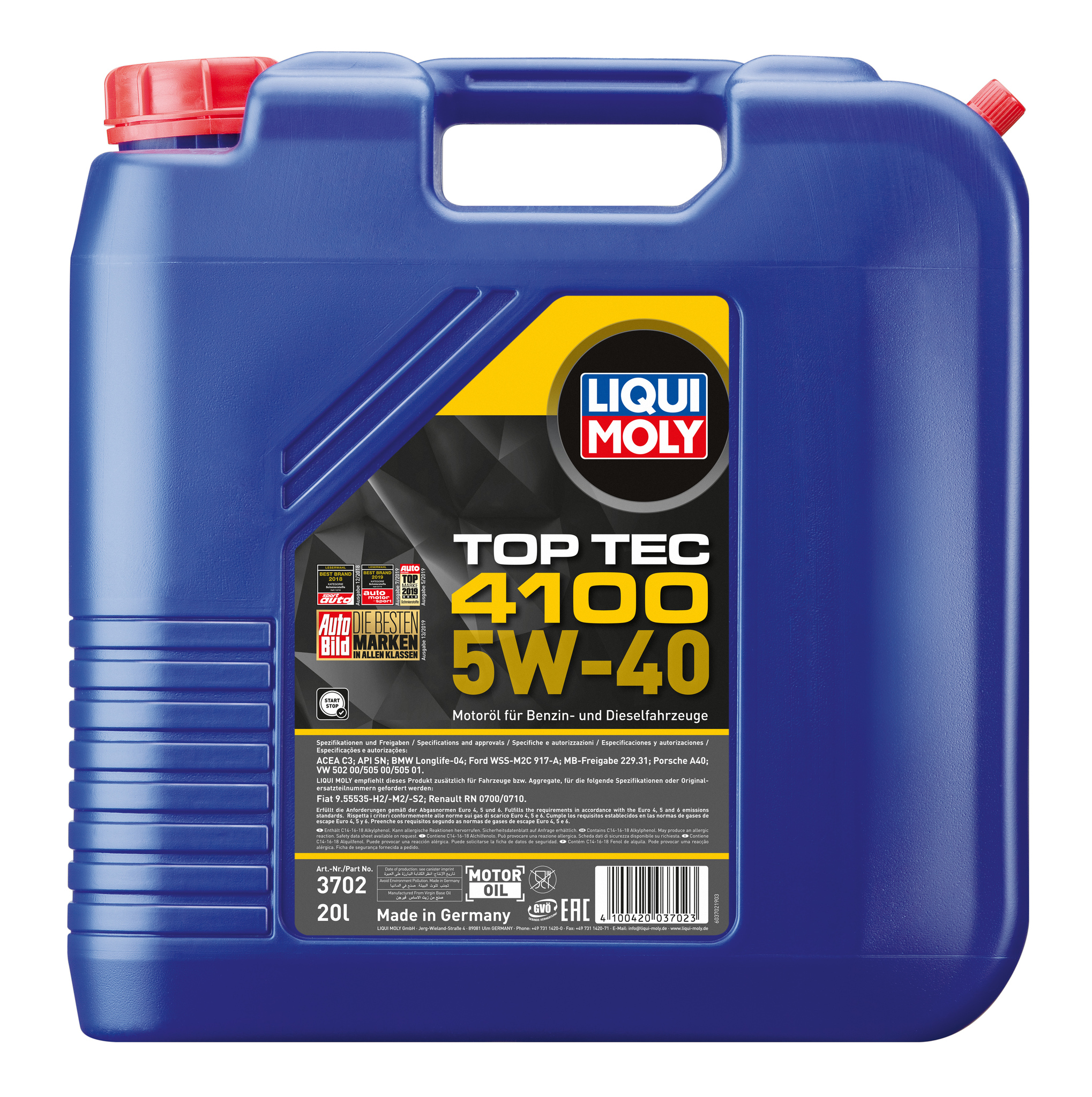 Liqui Moly масло моторное Top Tec 4100 5W40 для двигателя канистра 20 л.